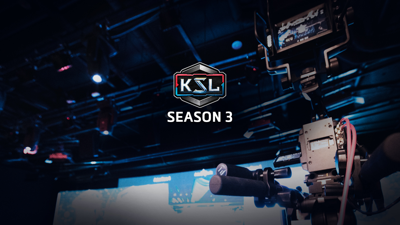 Centered KSL logo with a broadcast camera in the background